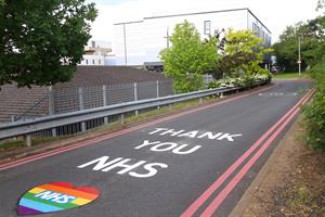 'Thank you NHS' road markings painted outside Northamptonshire hospitals