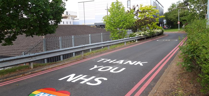 Road messages thanking the NHS have been painted around Northamptonshire hospitals