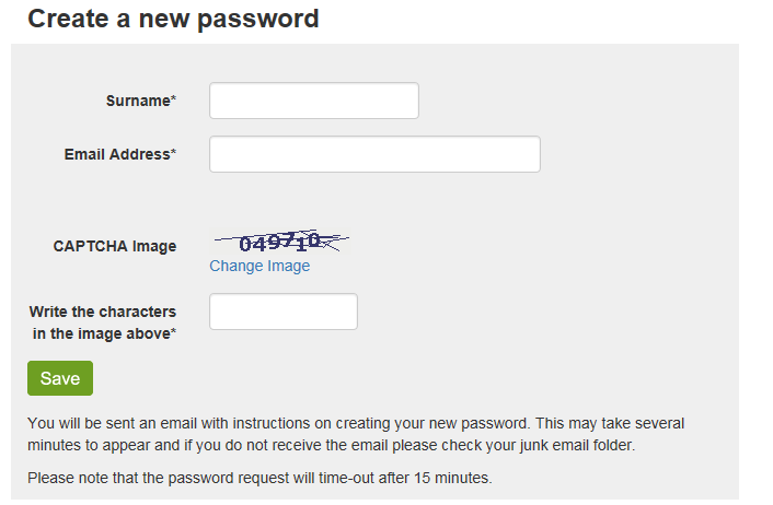 Create a new password