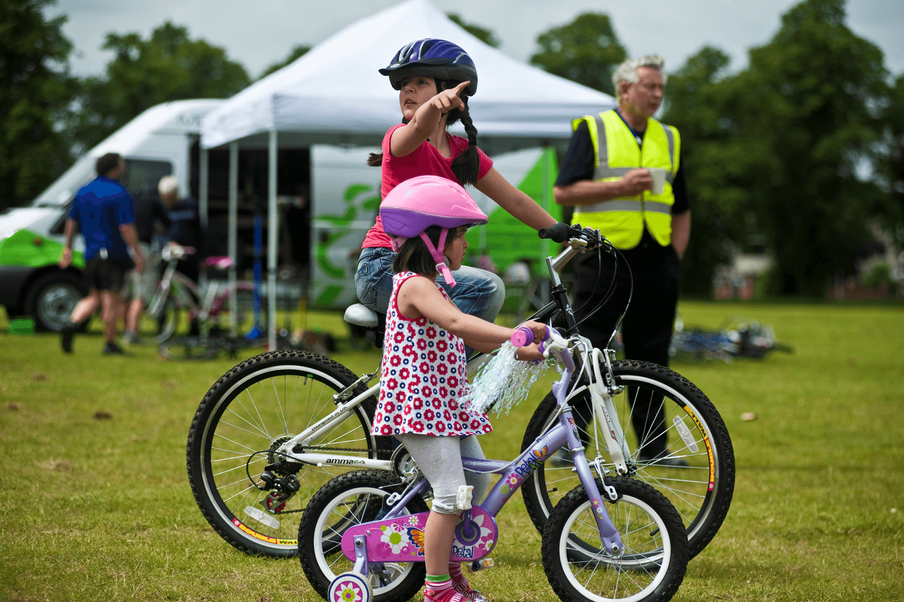 Children cycling in Northamptonshire