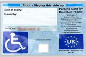 Example of a blue badge