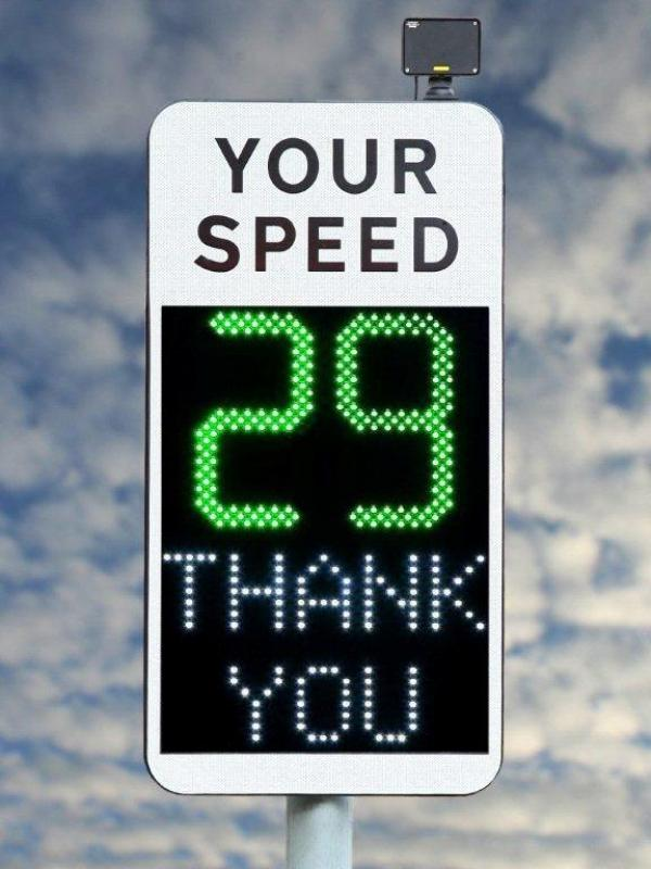 Vehicle activated sign showing a speed and thank you